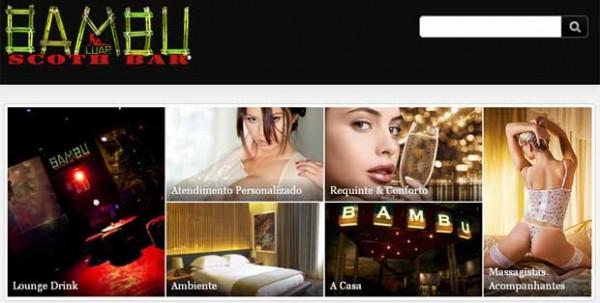 """Bambu Luar Scoth Bar, em sua página da internet são oferecidos serviços como: atendimento personalizado, em casa, motéis e hotéis, massagem tântrica, atendimento em festinhas e um """"cardápio"""" com fotos das mulheres."""