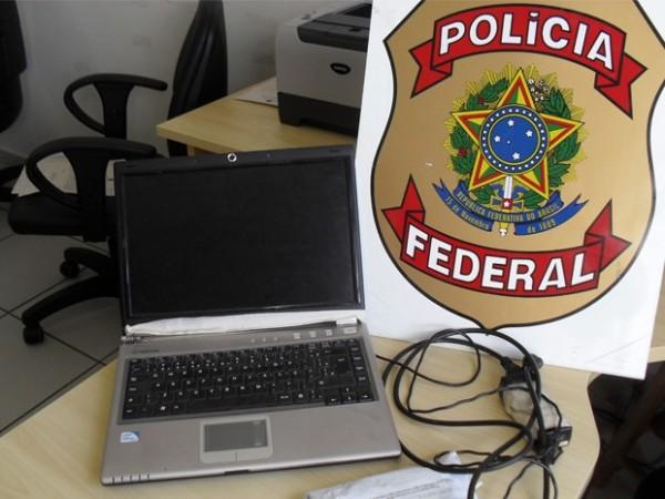 Computador de suspeito foi apreendido (Foto: Polícia Federal de Varginha)