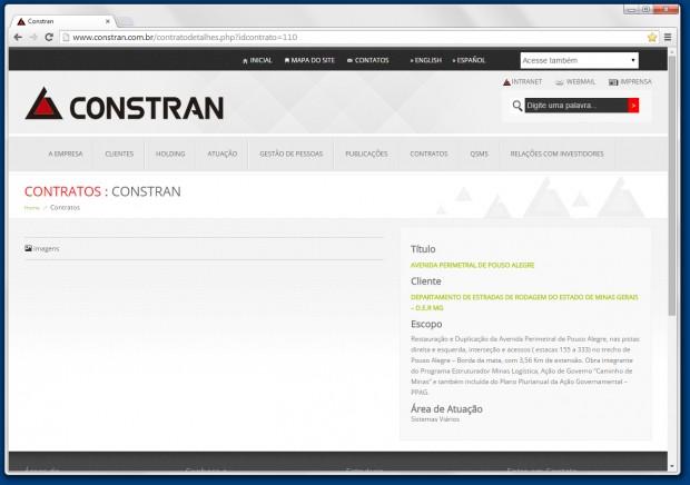 Empresa divulga em seu site a execução da obra.