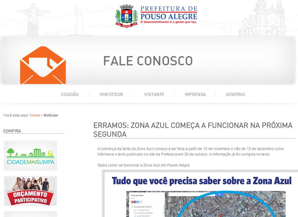 Prefeitura emitiu errata em seu site