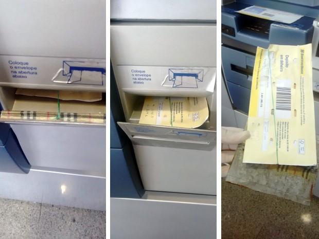 Boca de caixa eletrônico teve a tampa substituída para que depósitos fossem roubados (Foto: PMMG Pouso Alegre)