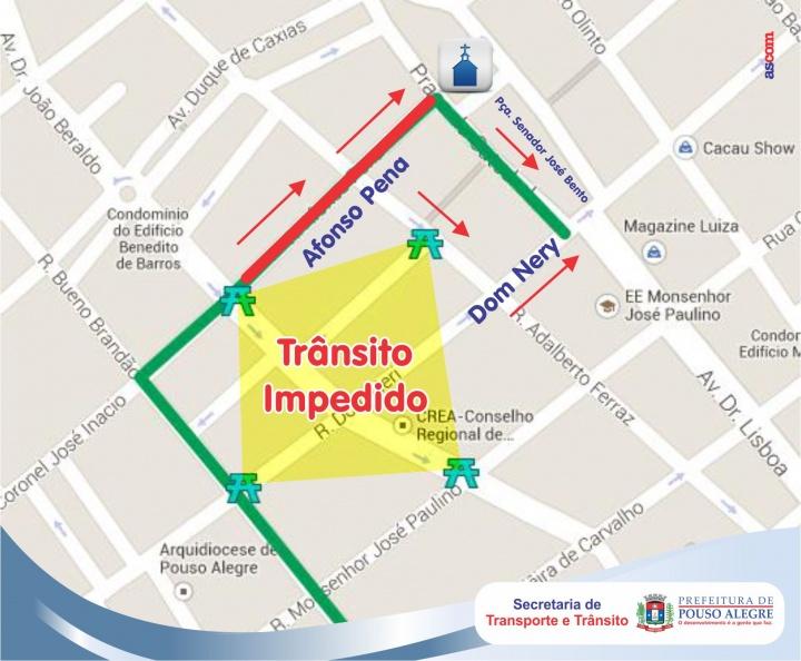 A rua Afonso Pena terá o sentido de direção invertido desde o cruzamento com a Av. Dr. João Beraldo até a Praça Senador José Bento.