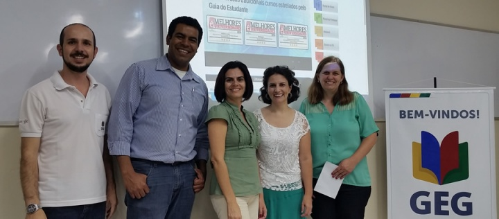 Foto: O coordenador do projeto, professor André Godoi, e os professores Wilson Alixandrino, Margarete Ribeiro Siqueira, Cláudia Marinho e Eunice Gomes de Siqueira