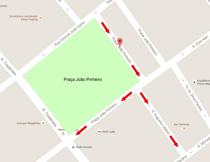 Ruas no entorno da Praça João Pinheiro terão direção alterada.