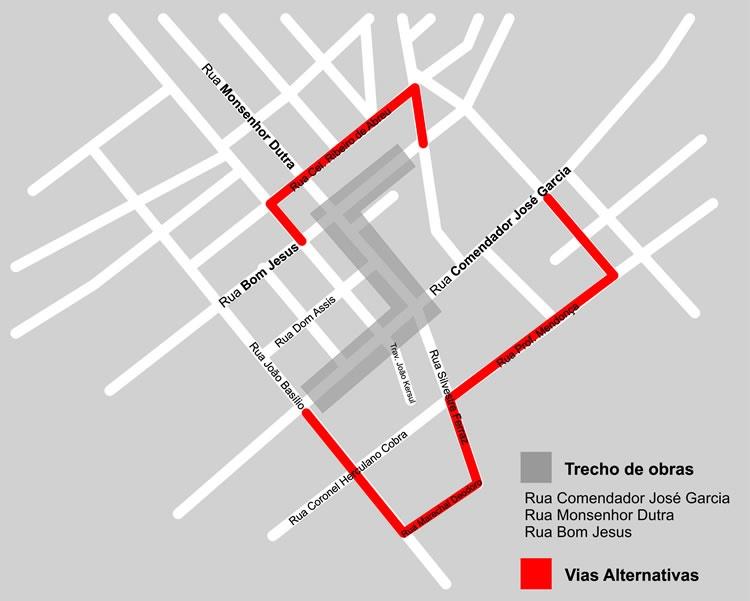 Mapa da 2ª etapa das obras. Imagem: Divulgação Prefeitura.