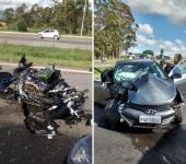 Carro ainda atingiu mais dois caminhões. A motorista do veículo teve ferimentos leves.