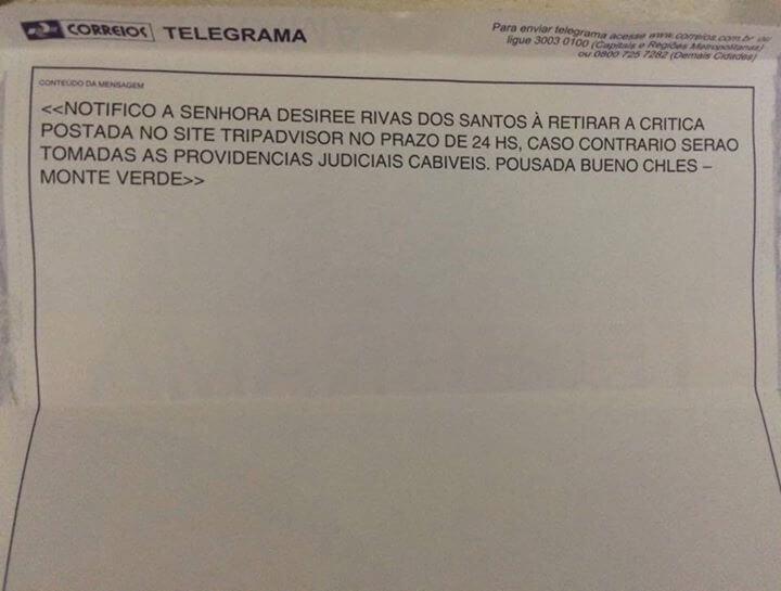 Notificação foi postada pela estudante no Facebook. Foto: Reprodução Facebook / Desiree Rivas