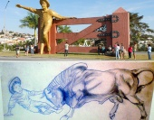 """Três novas estatuam farão homenagens à música sertaneja """"Menino da Porteira"""", que deu fama à cidade. Intenção é atrair turistas para dentro da cidade."""