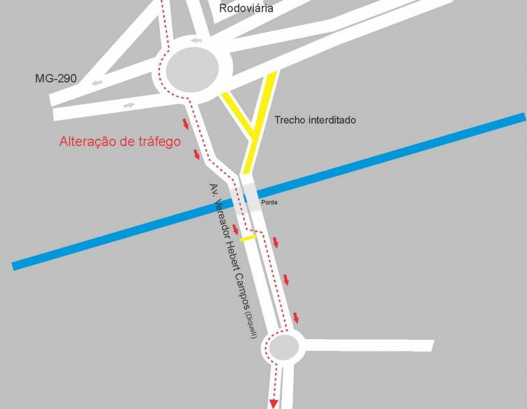 Mapa da alteração na Dique 2. Imagem: Prefeitura de Pouso Alegre