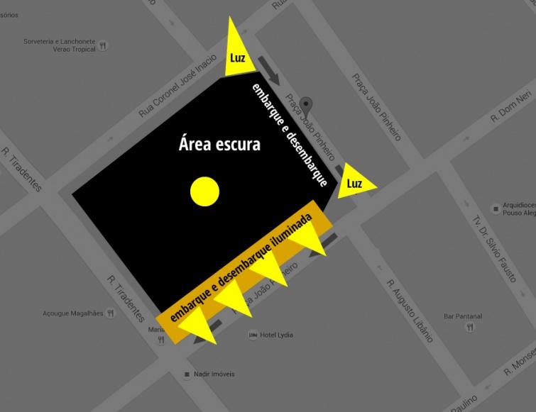 Um das áreas de desembarque na praça fica no escuro. Criação: <strong class='pousoalegrenet_word'><p class=