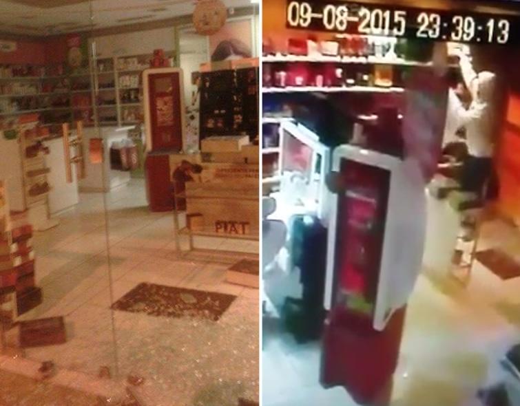 Ladrões quebraram porta de vidro e roubaram produtos de lojas. Foto: Reprodução Facebook Fernando Lima.