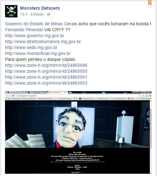 Invasão é comemorada em rede social. Imagem: Reprodução Facebook