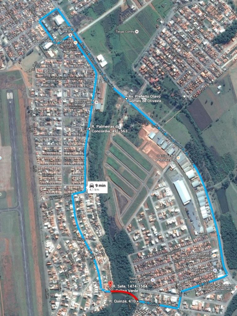 Moradores que não se arriscarem a passar pela rua sete, precisam andar cerca de 4 quilômetros. Imagem: Google Maps