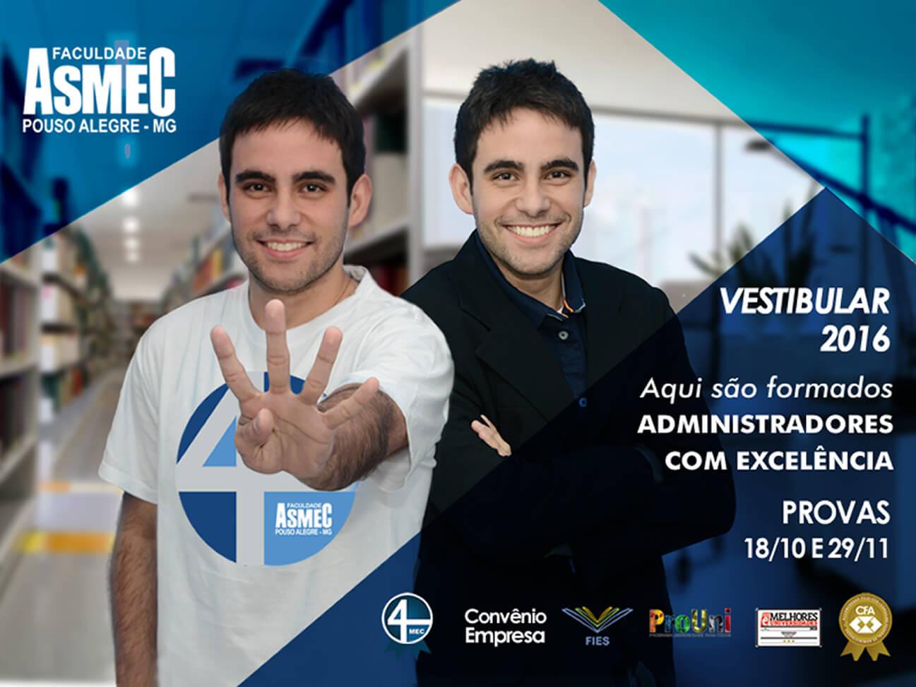 Vestibular 2015 Asmec Pouso Alegre. Imagem: Divulgação