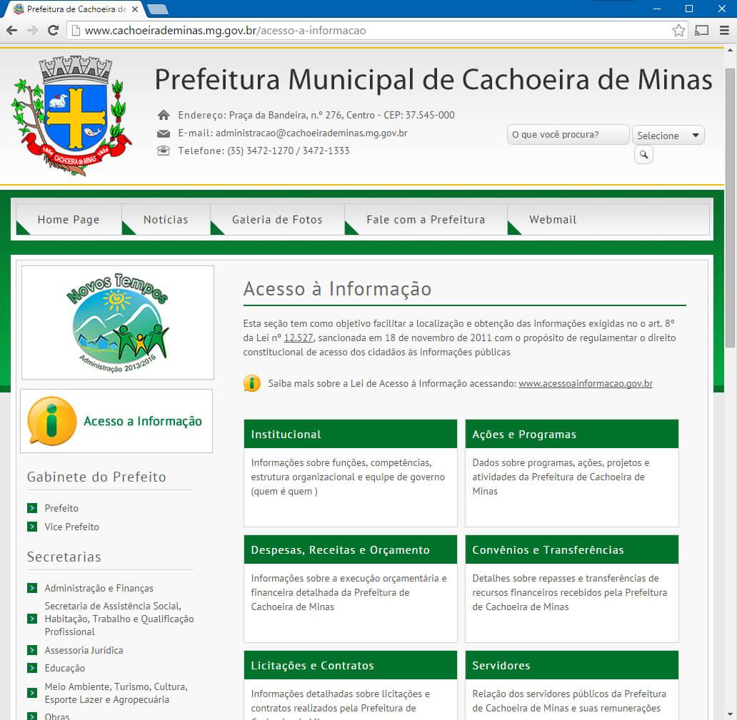 Portal da transparência da Cachoeira de Minas: Bom Exemplo