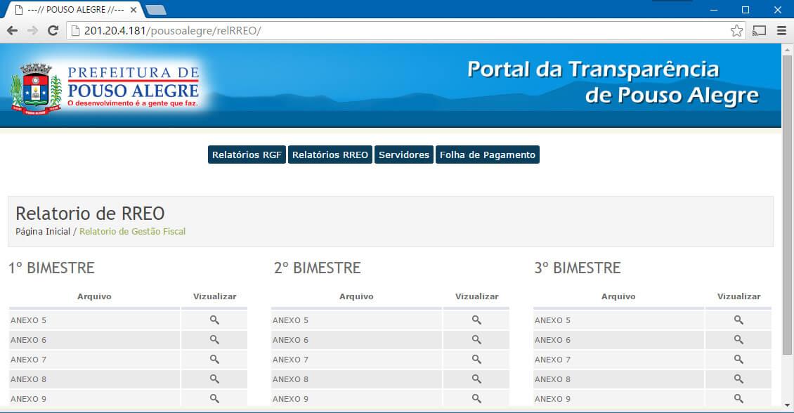 Portal exibe apenas alguns relatórios com informações resumidas.