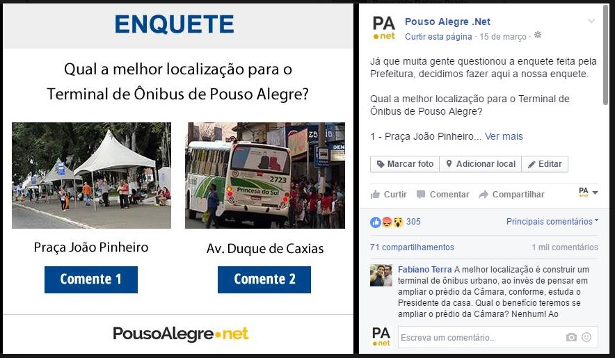 Enquete levantou preferência dos internautas. Imagem: Reprodução Facebook