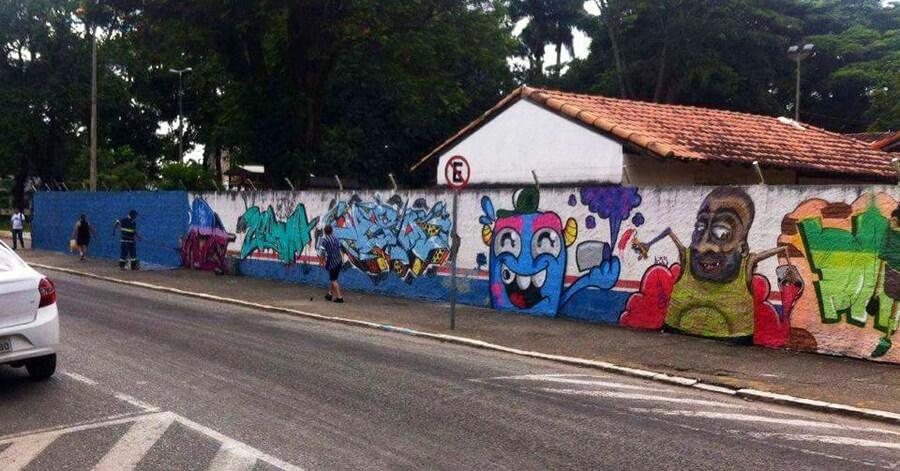 Secretaria de Educação ordenou pintura do muro.