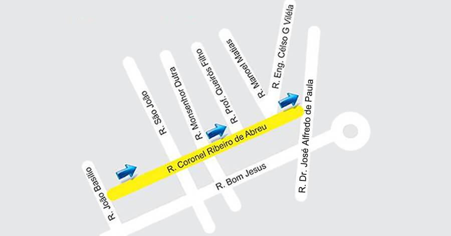 Rua Coronel Ribeiro de Abreu passa a ser mão única.. Imagem: Divulgação prefeitura