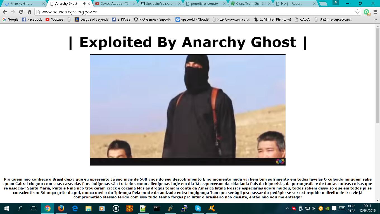 Página da prefeitura novamente Hackeada (Imagem: Reprodução Facebook / Anarchy Ghost).