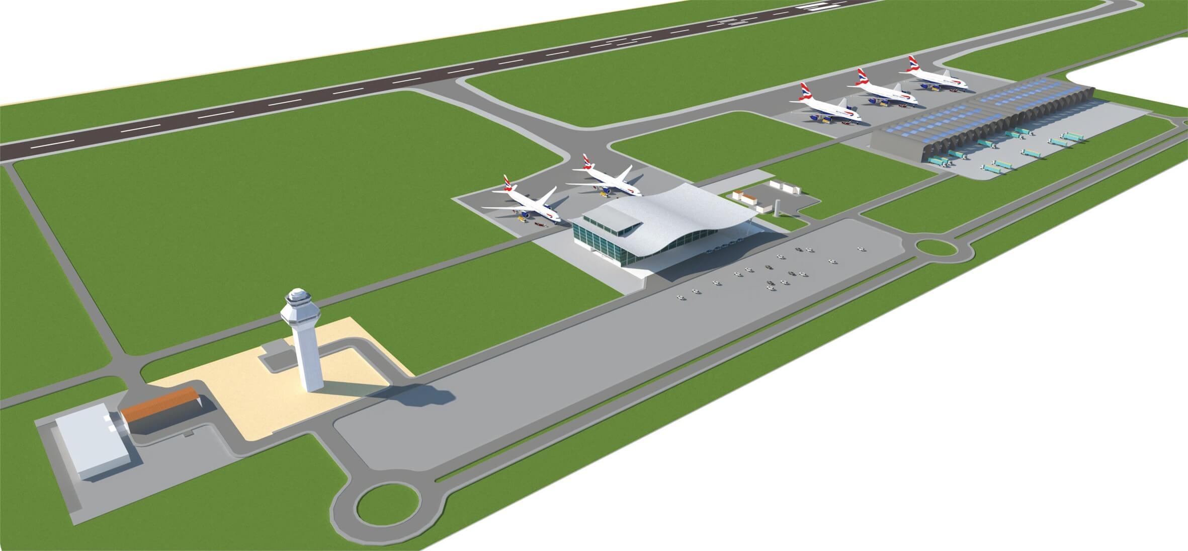Projeto do aeroporto de cargas e passageiros. Imagem: assessoria