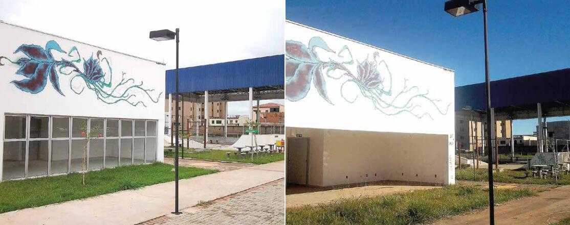 Fachada do CEU em janeiro de 2015 e agora em maio de 2016. Vidraças não existem mais. O que não foi furtado, foi quebrado. (Foto: Jornal Domingo)