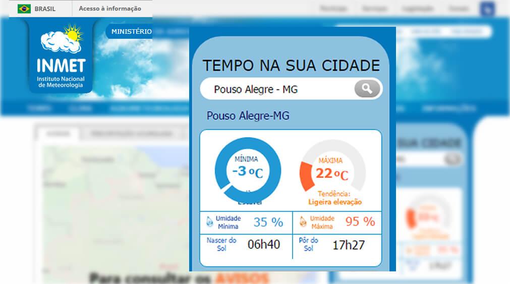 Portal do Inmet previu minima de -3ºC em Pouso Alegre (Imagem: Reprodução Inmet)