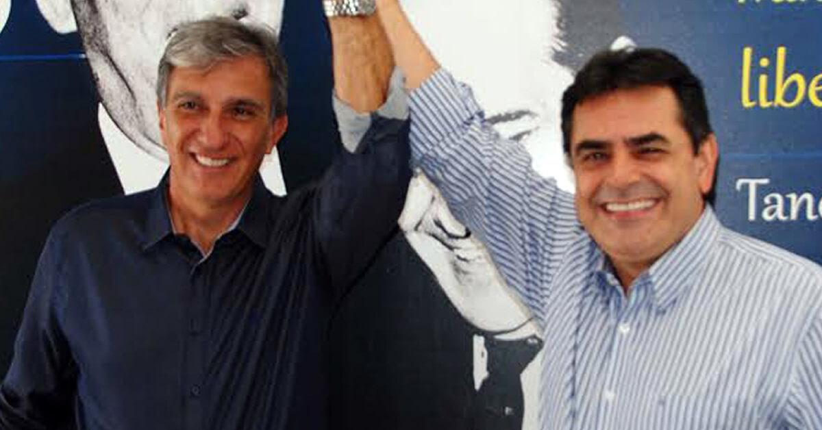 O candidato Rafael Simões e o presidente da executiva estadual, Domingos Sávio (Divulgação PSDB)